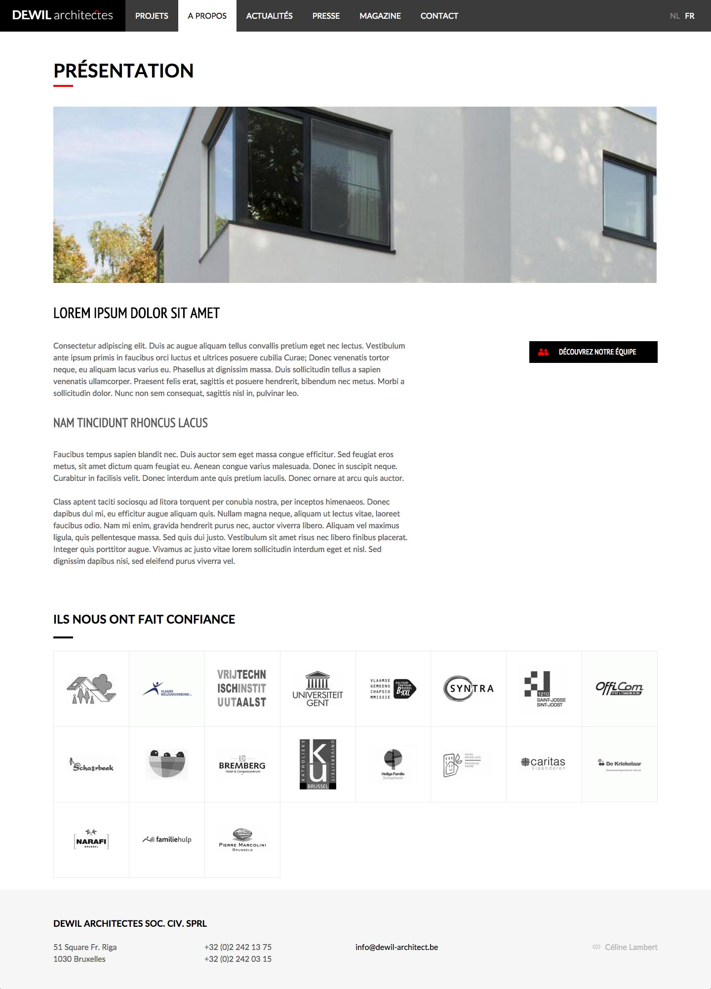 Dewil Architect - Page A propos