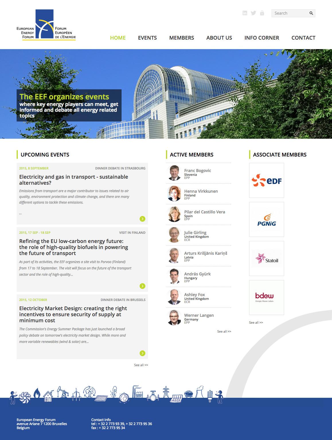 Page d'accueil du site du Forum européen de l'énergie