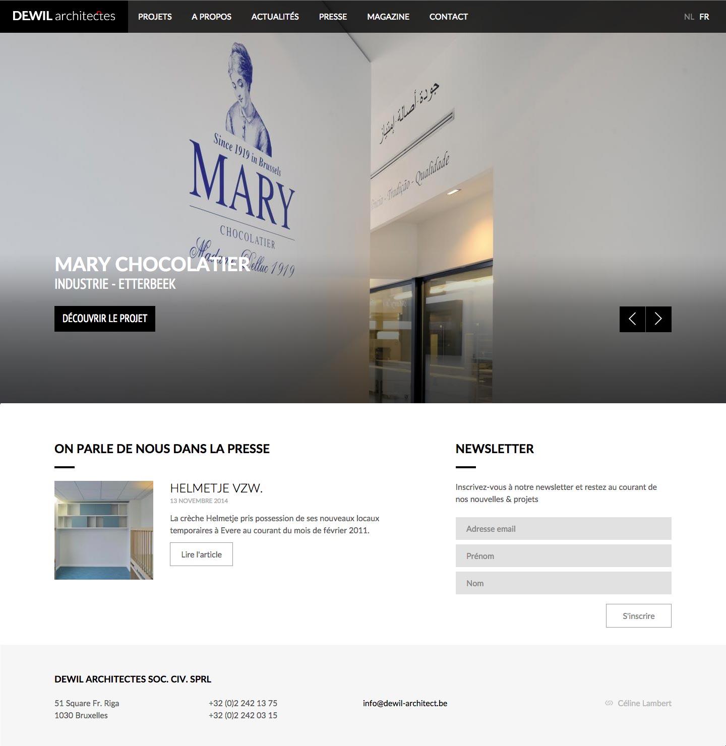 Dewil Architect - Page d'accueil