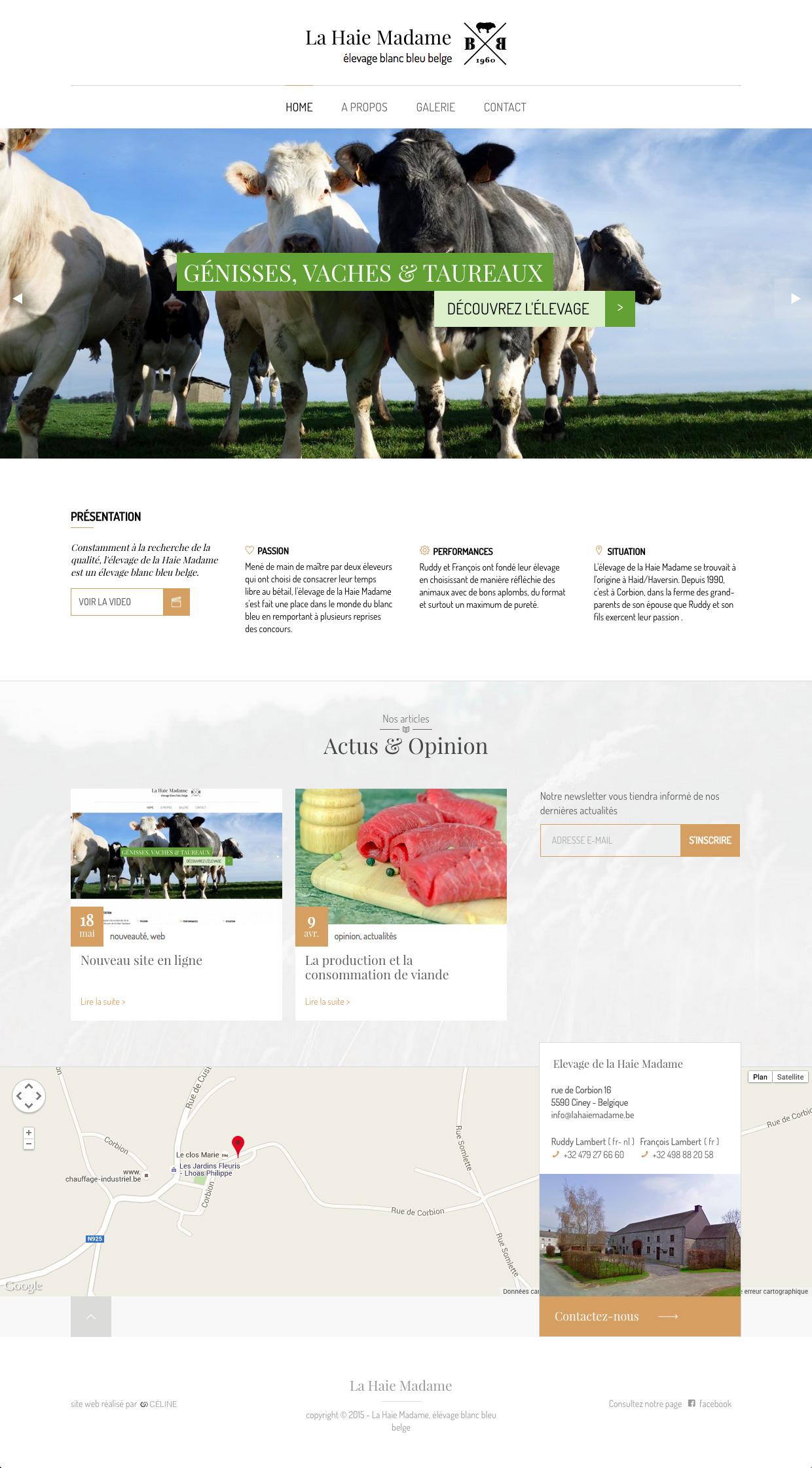 Page d'accueil du site de la Haie Madame